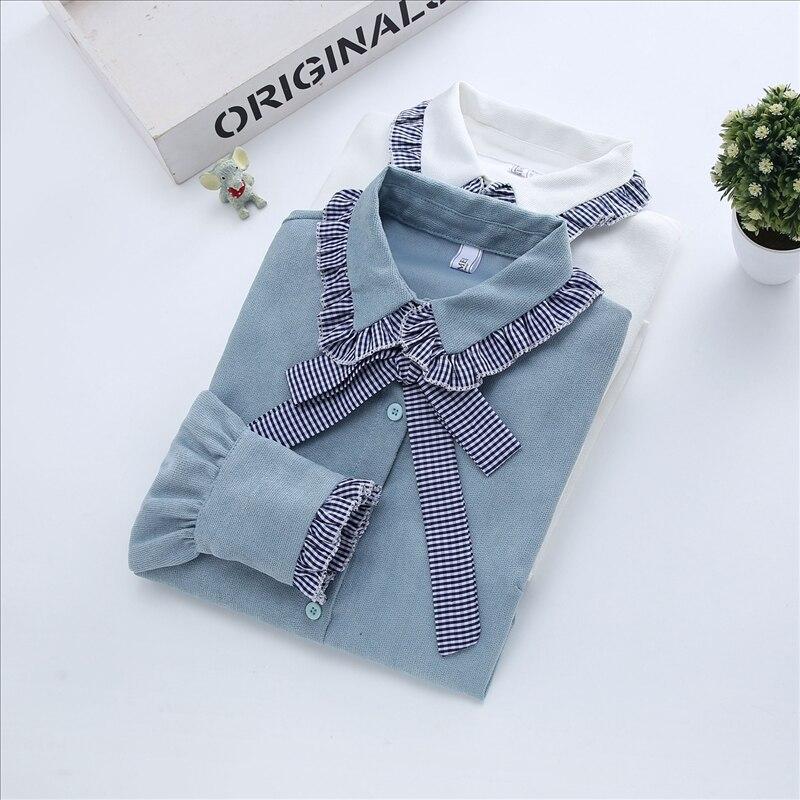 Primavera otoño mujeres camisas sólidas mujer señora oficina trabajo Arco-collar PANA ajustada blusa prendas de vestir tops