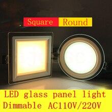 Luz descendente de Panel LED, 1 Uds., cristal superbrillante regulable, Panel redondo cuadrado, luces empotradas de techo, Bombilla de foco LED AC110V 220V
