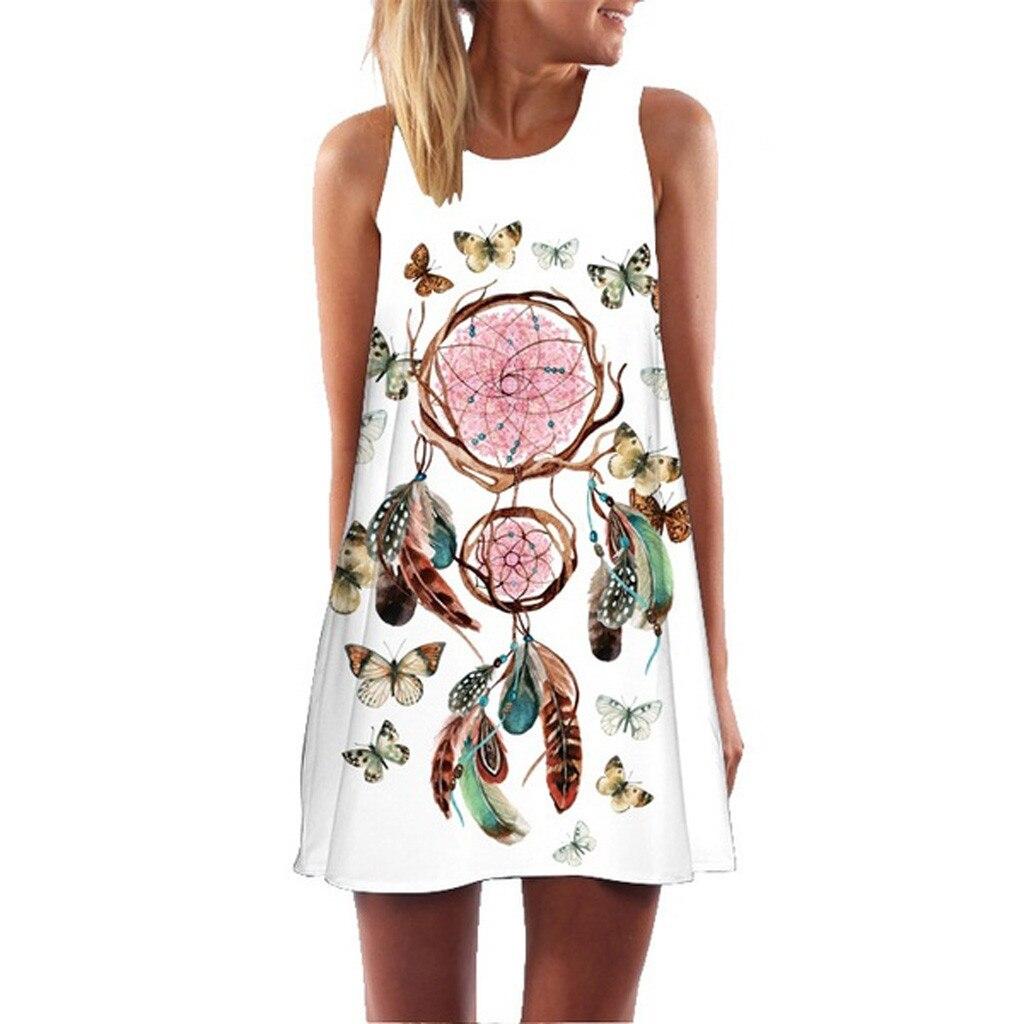 SAGACE Women Dress 2019 Vintage Boho Summer Sleeveless Beach sundress Printed Short Mini Dress female Vestidos funny Dress Women