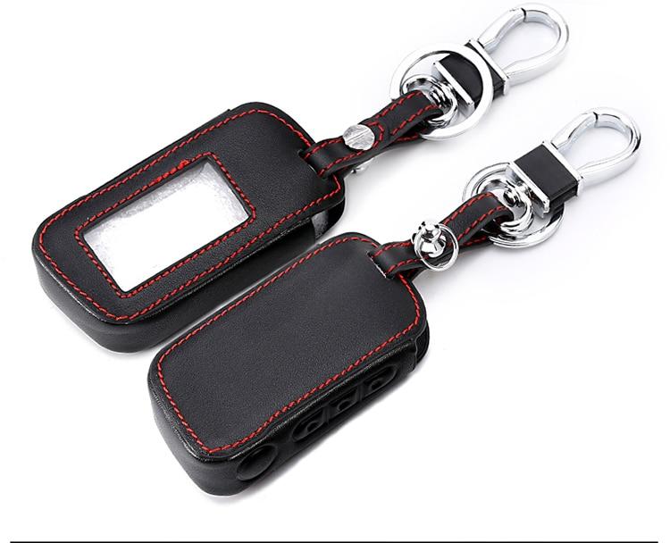 Nova starline a93 caso de couro para starline a93 a63 a96 a66 alarme do carro remoto controlador lcd chaveiro capa