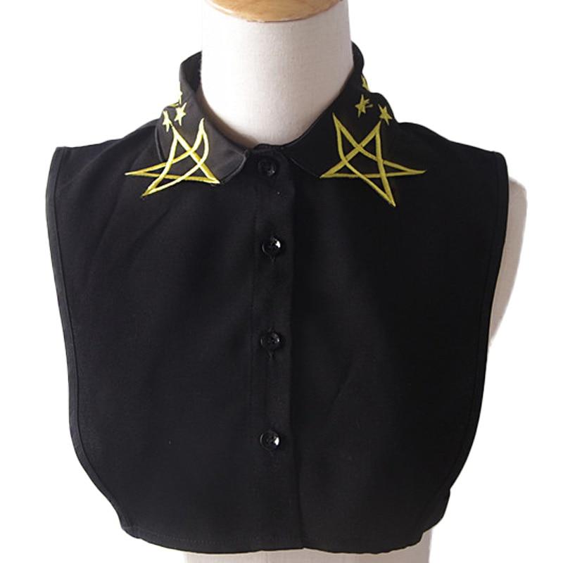 Estrella bordada collar chaleco blusa camisa Blusa con uñas jersey con collar decorativo exclusivo original edición limitada pretty white
