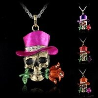 Skull Necklace Skeleton Skull Jewelry Vintage Retro Charm Pendant Fashion Jewelry wholesale charms Lovely Skull skeleton Pendant