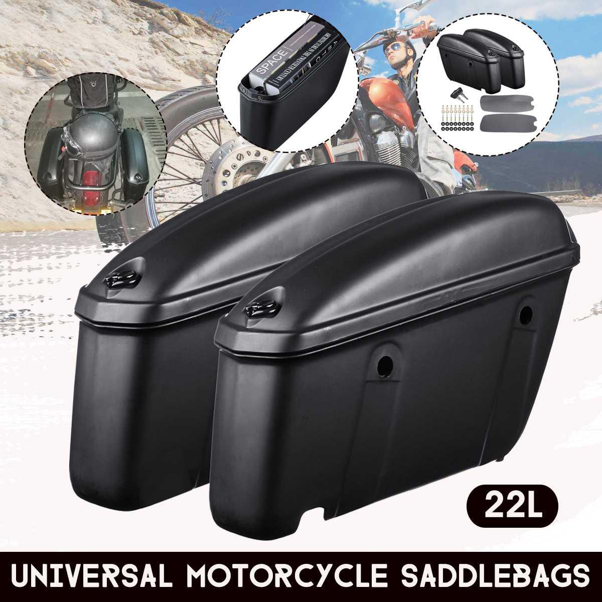 Par universal caso tronco rígido da motocicleta sela saco de bagagem lateral caixa alforjes para suzuki/yamaha/honda