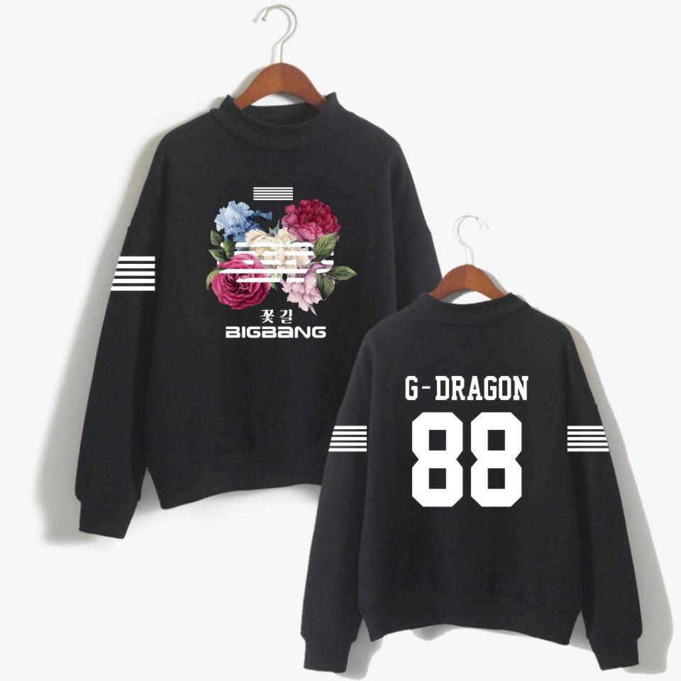 Kpop K-ポップ韓国 Bigbang 花の道プリントパーカートレーナー女性ファッション Bigbang 女性ファンタートルネックキャップレストレーナーの服