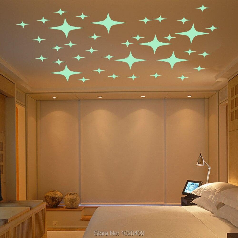 Decoración decorativa para el hogar pegatina luminosa para pared Juego de Estrellas con emisión de luz papel tapiz de Ángel decoración de techo para habitación de niños GS043
