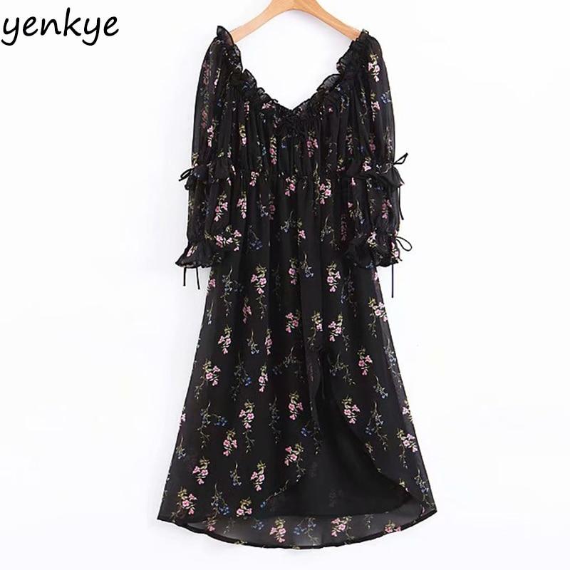 2019 Women Vintage Black  Floral Print Chiffon Dress Elegant Lady Square Neck Puff Sleeve Asymmetry Romantic Summer Party Dress