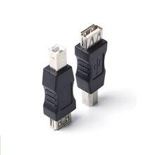USB 2.0 A femelle à B mâle adaptateur connecteur AF à BM convertisseur Mini Portable noir adaptateur pour PC ordinateur téléphone imprimante