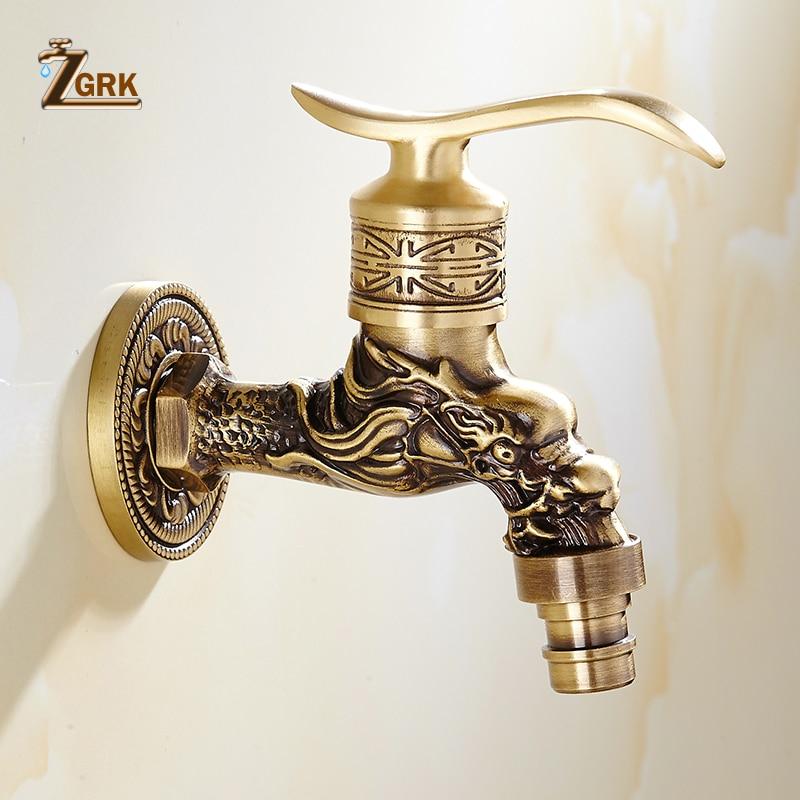 ZGRK кран для ванной комнаты, кран из латуни, кухонный кран для сада, высокое качество, стиральная машина, Швабра, роскошный античный декоратив...