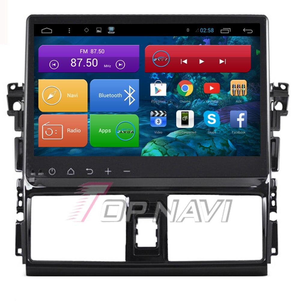 Topnavi Quad Core Android 6.0 Car GPS Navigation for Toyota Vios 2015 Autoradio Multimedia Audio Stereo,NO DVD