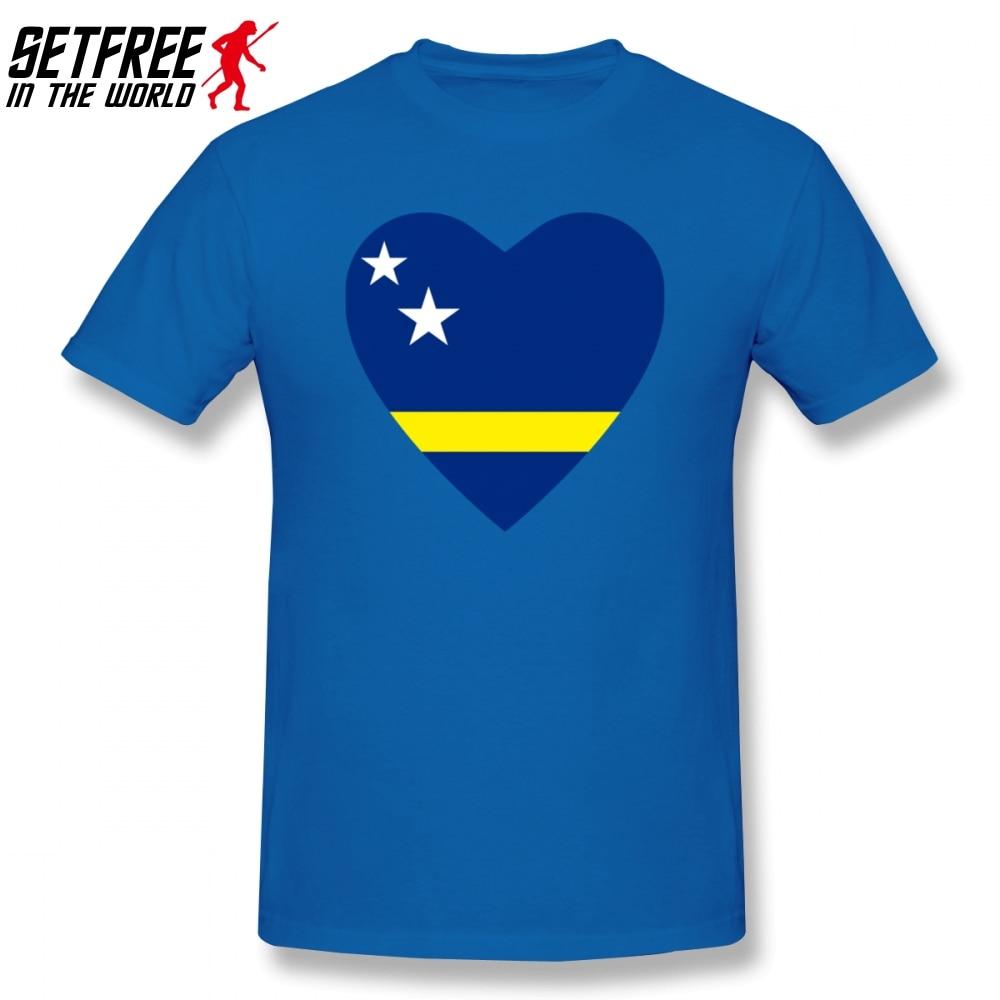 Camiseta de hombre con bandera de corazón Curacao, verano Kpop 4XL 5XL 6XL cuello redondo de algodón de manga corta, camisetas divertidas personalizadas