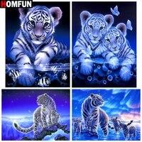 HOMFUN     peinture diamant theme  Animal tigre   broderie complete 5D  perles rondes ou carrees  points de croix  pour bricolage  decoration dinterieur  cadeau