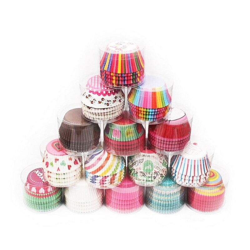 Hoomall, 100 Uds., utensilios de cocina para cupcakes, moldes de bandeja, vasos de papel, revestimiento a prueba de aceite, herramientas para hornear pasteles, suministros para fiestas de bodas