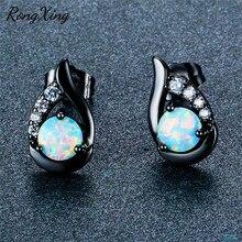 RongXing mignon aile blanc feu opale boucles doreilles pour les femmes couleur argent/Rose/noir or rempli pierre de naissance boucle doreille Ear0774