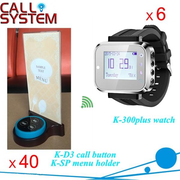 Receptor de reloj vibrador 6, 40 zumbadores con soporte, servicio al cliente, sistemas de pedidos para bistro/bar