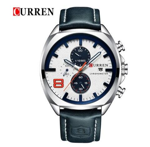 CURREN ساعة رجالي كرونوغراف مقاوم للماء عسكرية رياضية فاخرة ماركة جلدية ساعة معصم 8324