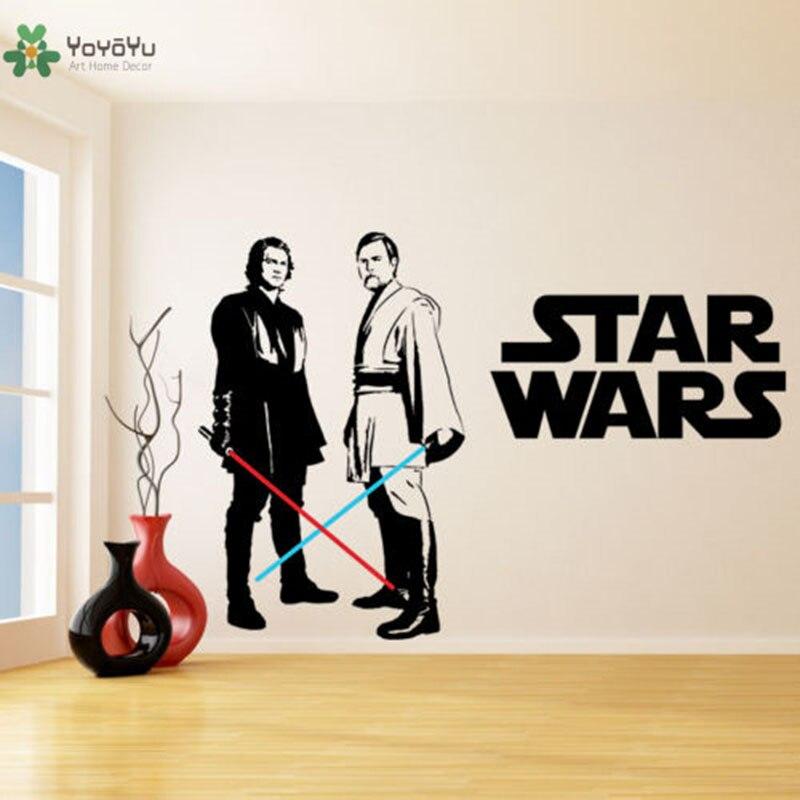 Star Wars Vinyl Wand Aufkleber Für Kinderzimmer Dekoration Obi Wan Kenobi & Anakin Skywalker Lichtschwert Wand Aufkleber Schlafzimmer Deco YO416