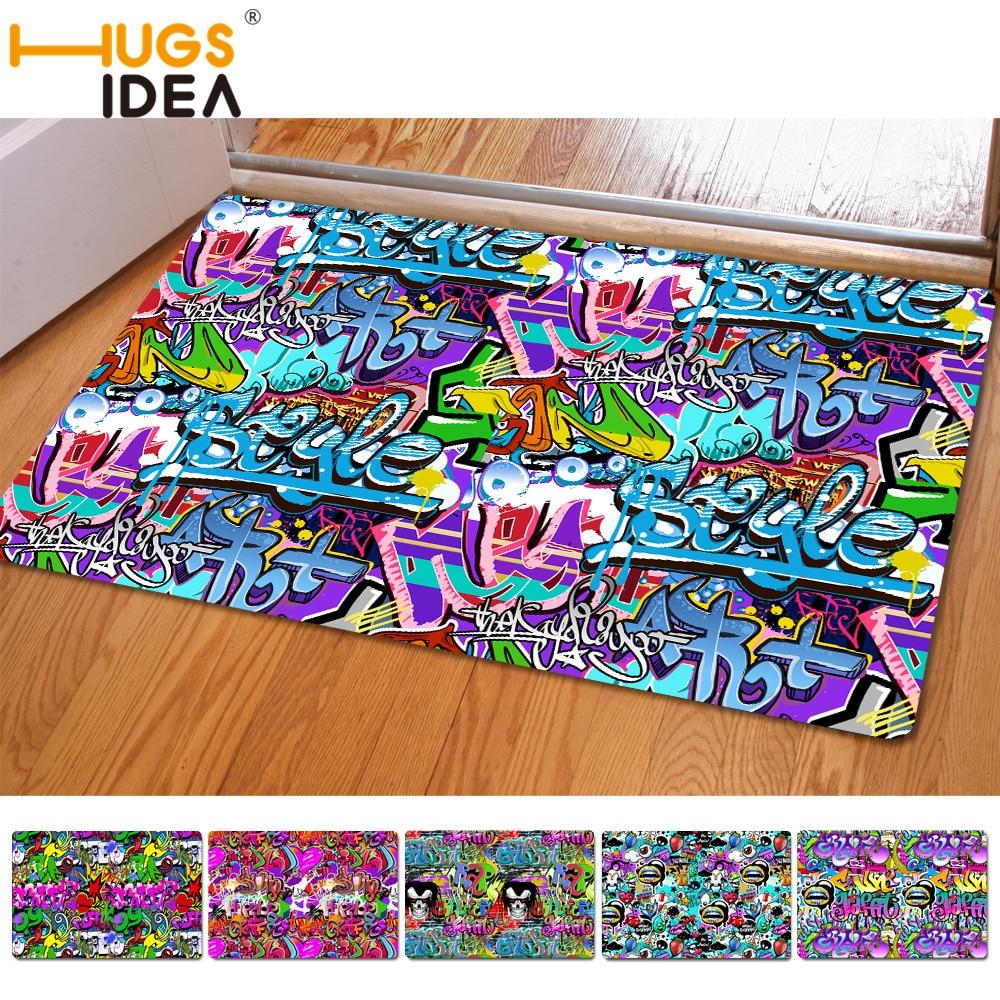 40*60 cm Modern Graffiti Style Kitchen Carpet Entrance Doormat for Bedroom Living Room Rug Fashion Home Decor Floor Mats Design