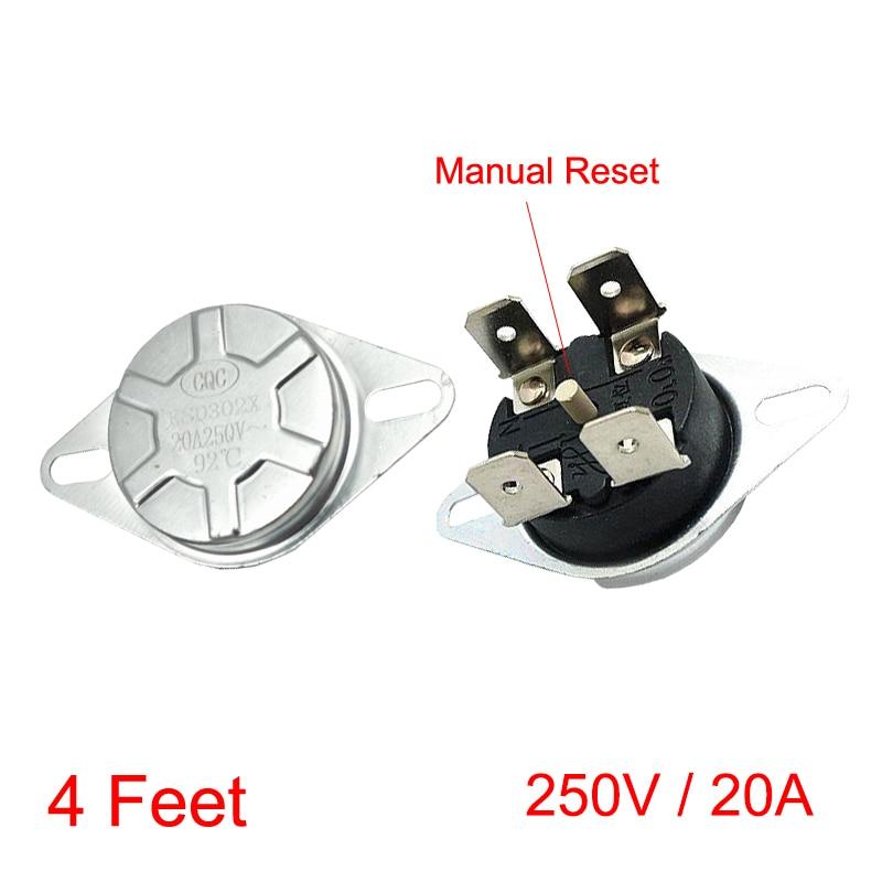 93 95 98 125 130 Degree 4 Feet Circular 4P KSD302X/T KSD306 250V 20A Head Manual Reset Bipolar Thermostat Temperature Switch