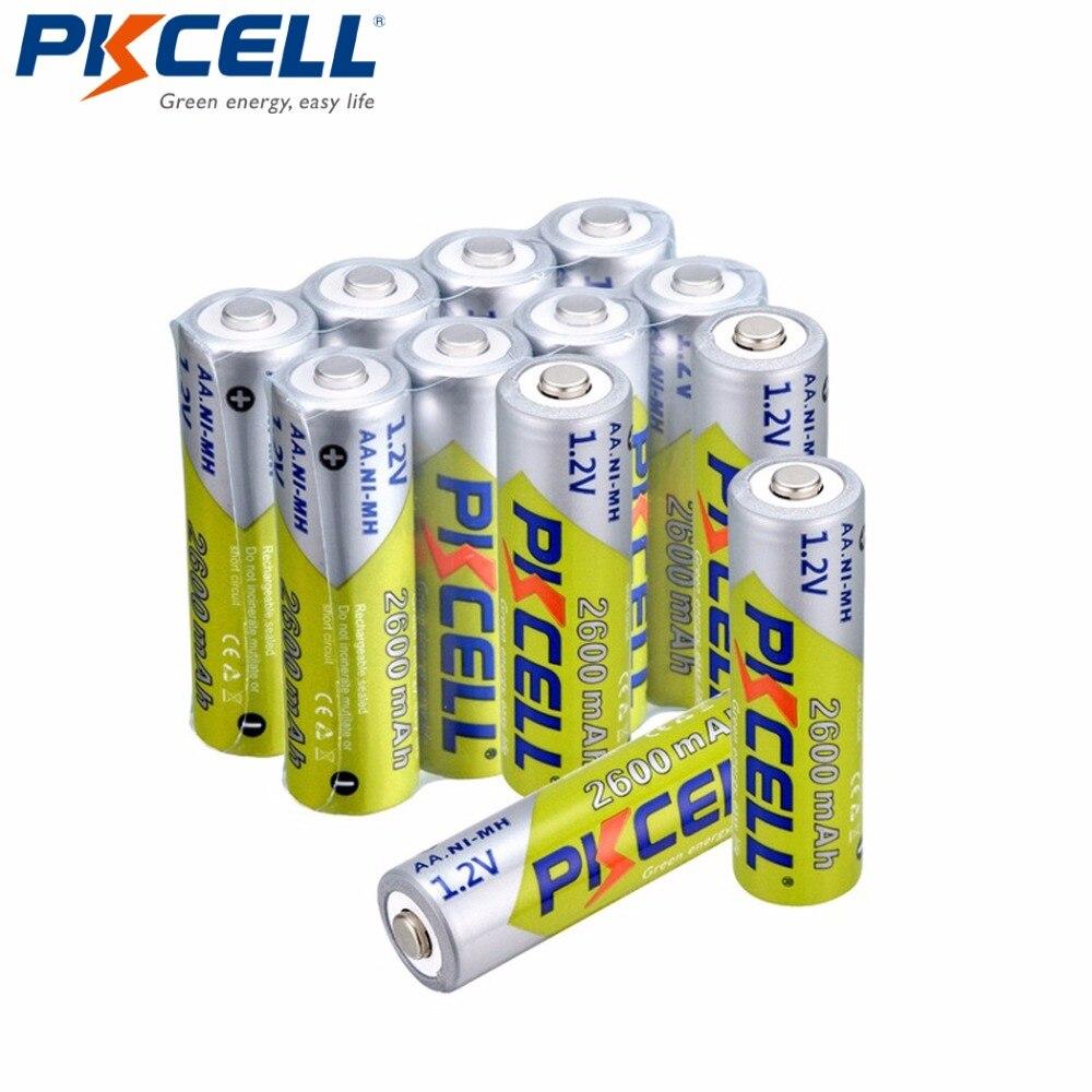 12 unids/lote Pkcell 2600mAh AA Ni-Mh batería recargable 1,2 V baterías aa Ni MH con ciclo de 1000 para linterna LED