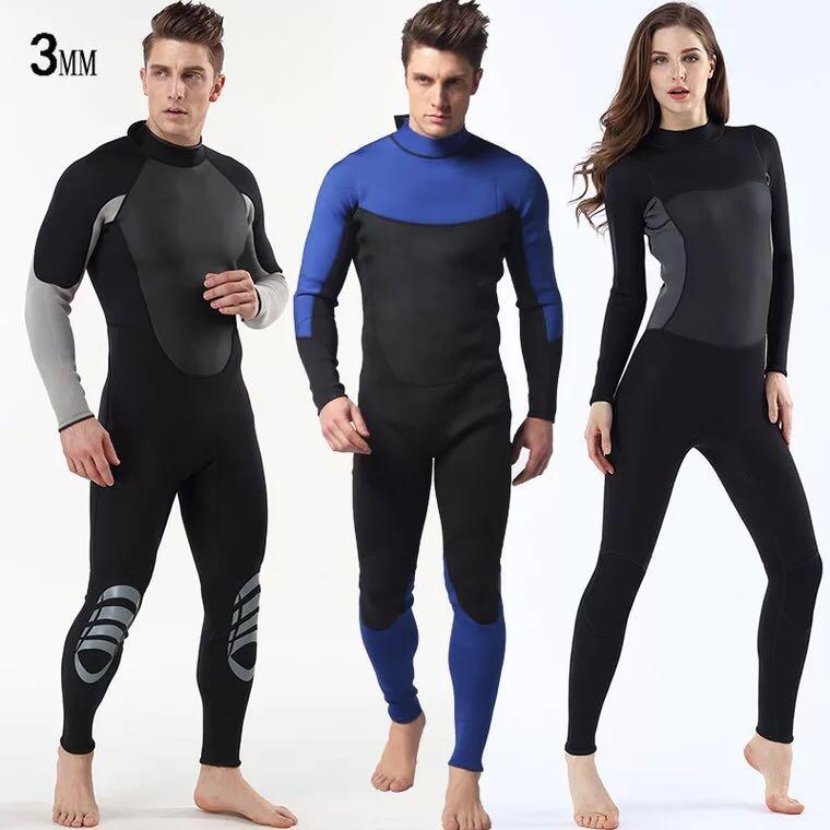 New neoprene 3mm one-piece diving suit waterproof clothing warm wetsuit surfing suit Men's women's free diving suit