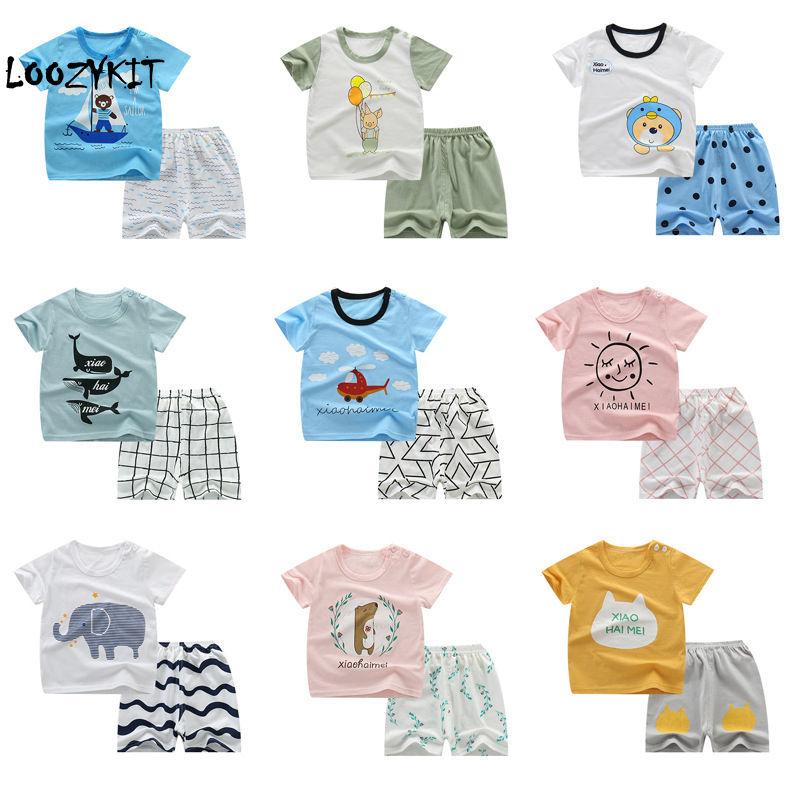 Conjunto de ropa de verano para niños Loozykit, conjunto de ropa de dibujos animados para niños y niñas, Top + Pantalones cortos 2 uds, ropa informal para niños, conjunto de trajes deportivos