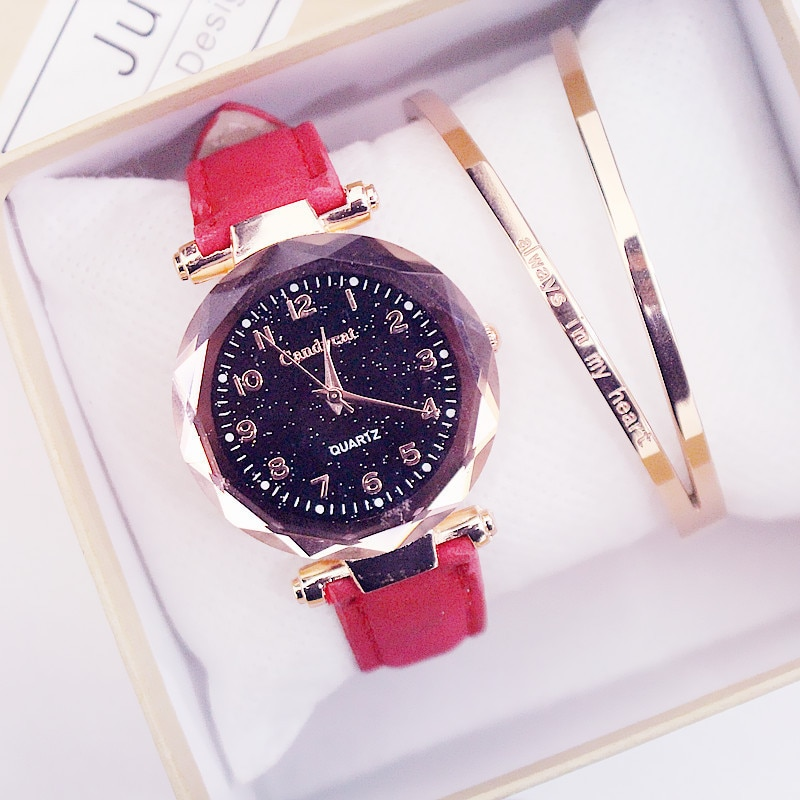 Frauen Mode Uhren Heißer Verkauf Günstige Starry Sky Damen Armband Uhr Casual Leder Quarz Armbanduhren Uhr Relogio Feminino