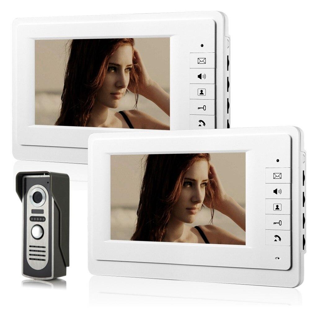 Monitor de videoportero TFT LCD de 7 pulgadas con sistema de teléfono de puerta con cable intercomunicador Visual timbre 2 Monitor interior 1 cámara al aire libre