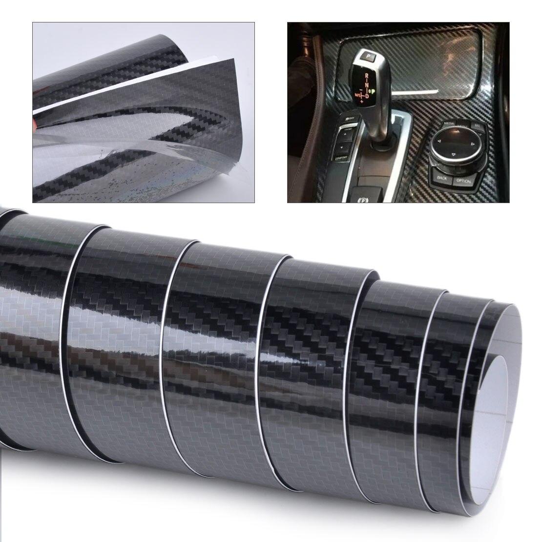 BelerNew 152x30cm negro 5D fibra de carbono textura coche Auto negro brillante Wrap Sticker película calcomanía rollo DIY Decoración Accesorios