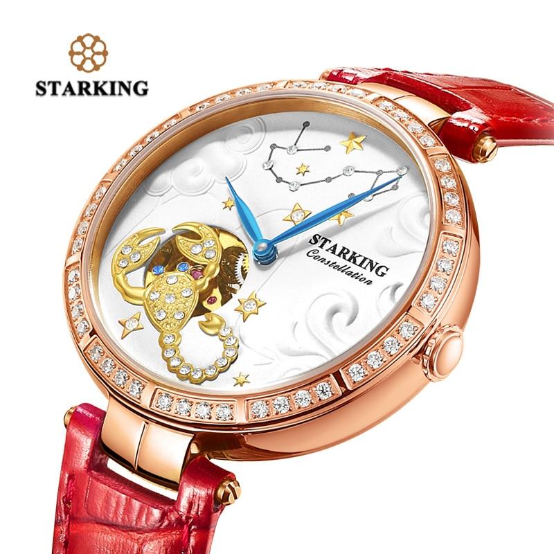 Reloj STARKING con diseño de constelación de Escorpio, relojes mecánicos automáticos para mujer, reloj de pulsera esqueleto resistente al agua de 50 m, reloj femenino