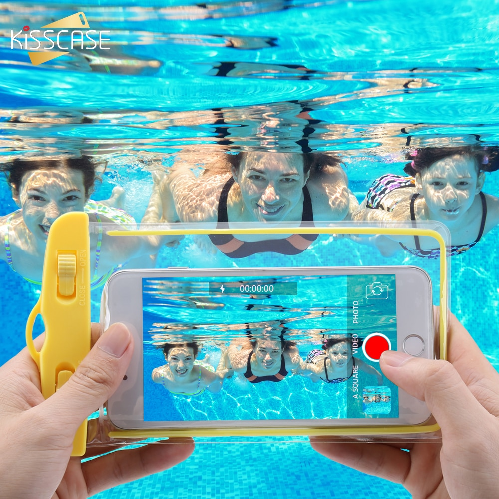 KISSCASE teléfono impermeable funda para Samsung S10 S9 A50 A40 A70 A30 cubierta bajo el agua bolsa funda para Huawei mate 20 P30 lite