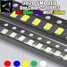 100 PIÈCES 3020 LUMIÈRE LED SMD diodes électroluminescentes smd rouge jaune Bleu Vert Blanc Blanc Chaud Rose Orange Froid 3.0*2.0*1.6MM super LUMINEUX