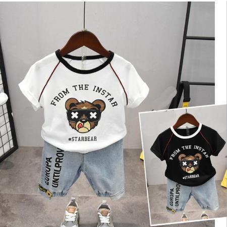 Ropa infantil para niños camiseta de dibujos animados Tops con letra impresa pantalones cortos conjunto de 2-6 años