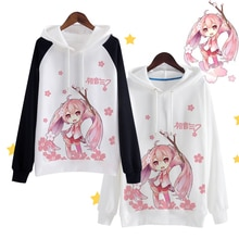 Anime Vocaloid Hatsune Miku Hoodies Sakura Miku Cosplay Hooded Coat Girls Harajuku Kawaii Sweatshirts High-Q