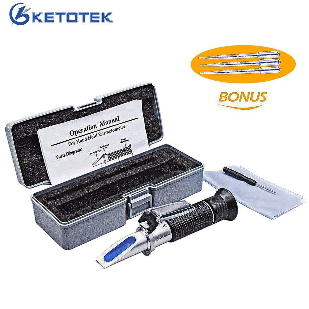 Ketotek Hand Held Beer Refractometer 1.000-1.120SG Wort Hydromet Brewing Brix 0-32% Dual Scale with Retail Box