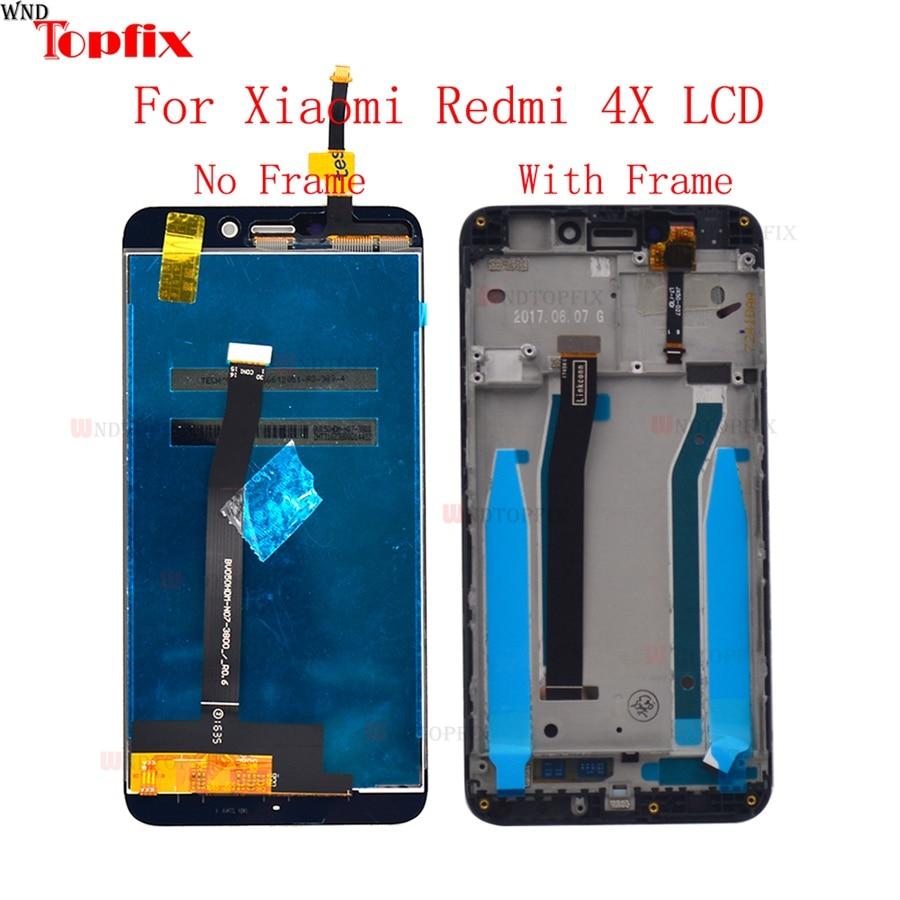 شاشة LCD تعمل باللمس ، مع إطار بديل ، تم اختباره بنسبة 100% ٪ ، لهاتف Xiaomi Redmi 4X