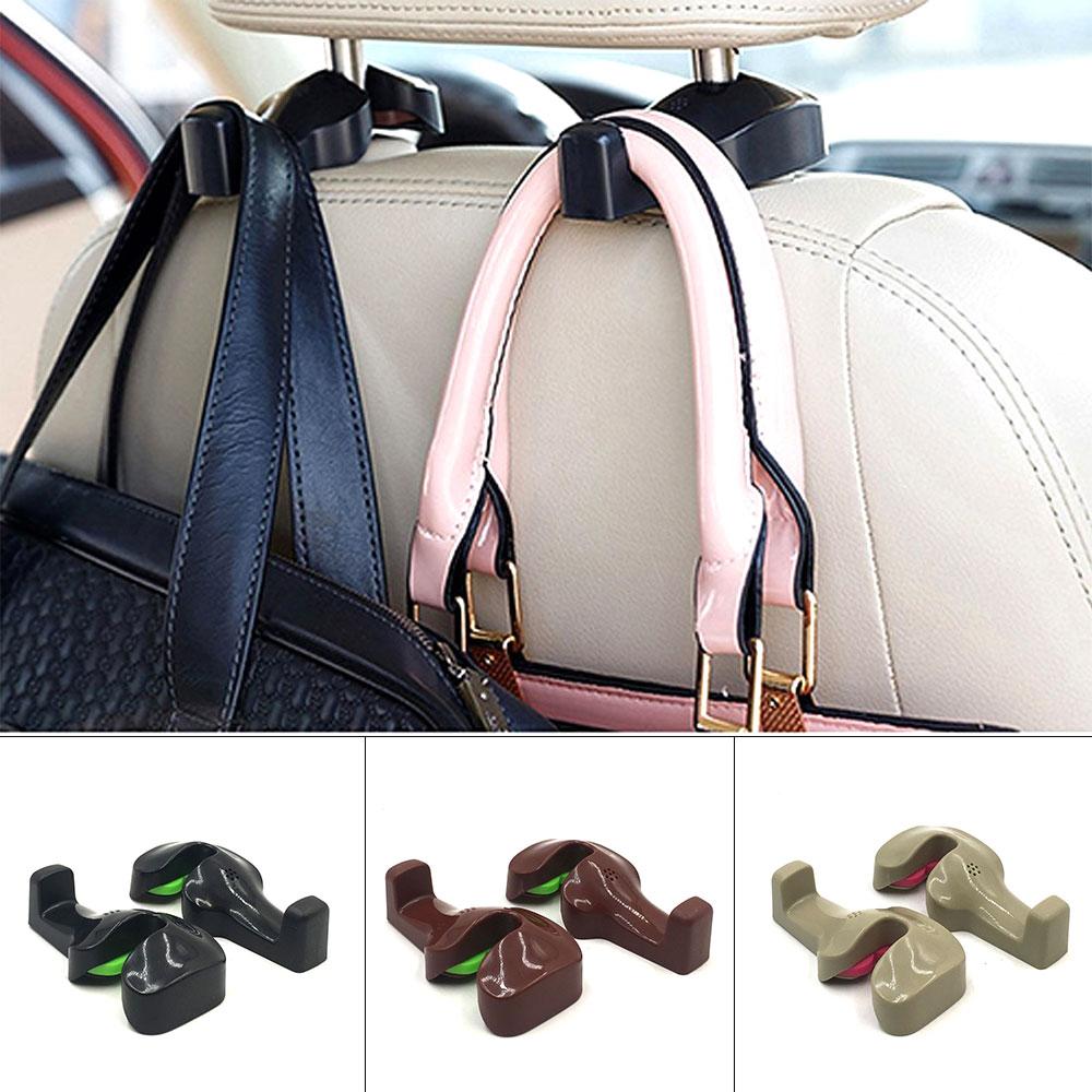2pcs Car Seat Headrest Hanger Hooks for Hanging Cloth Bags Universal Auto Organizer Car Back Seat Mount Hook Holder Clips