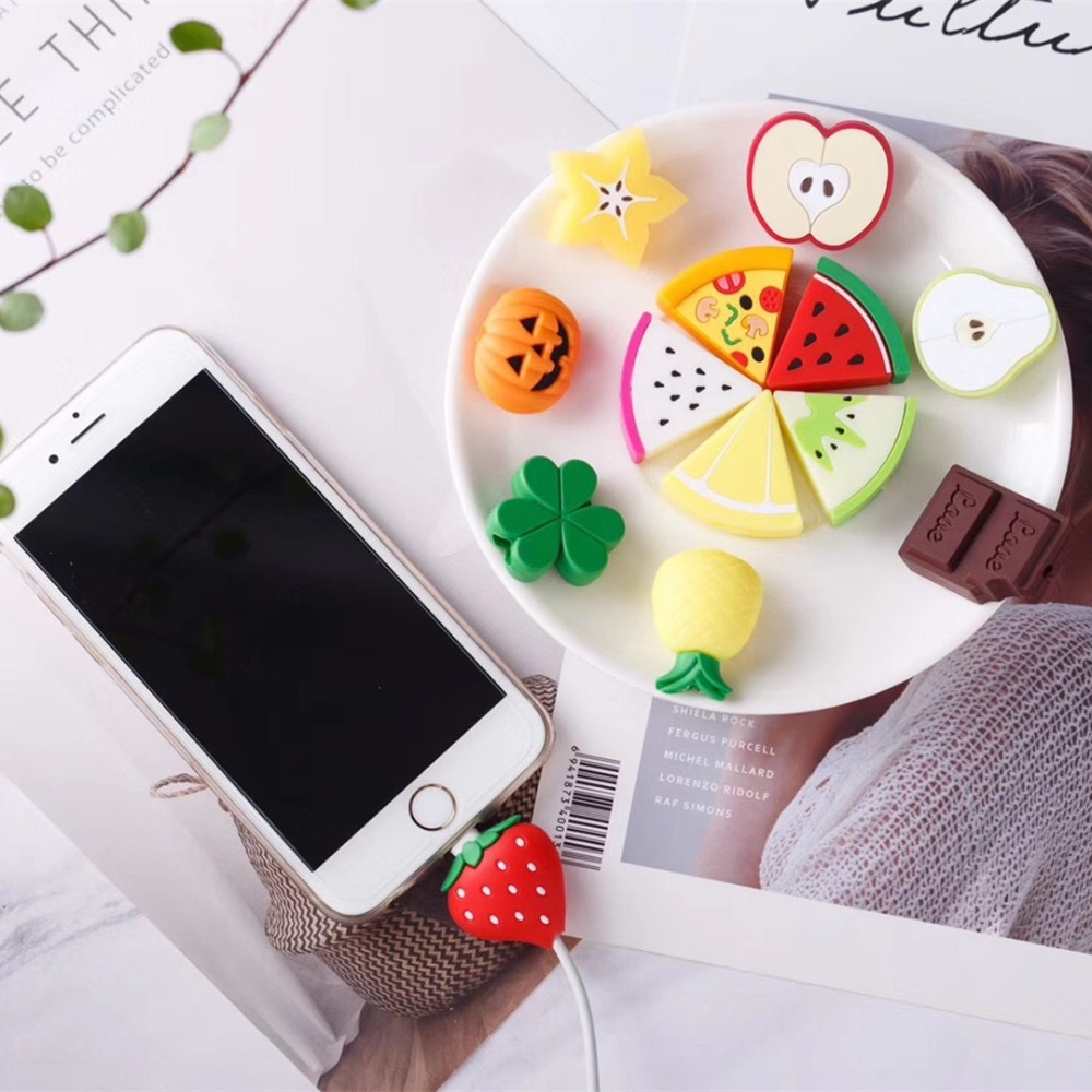 Cubierta protectora de línea de datos USB para iphone X, XS, MAX, 5se, 5s, 6s, 7, 8 plus, Cable de carga con dibujos animados, accesorios para teléfono con forma de fruta