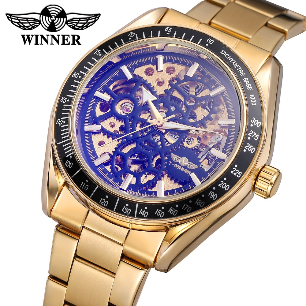 Ganador Retro diseño real de vidrio azul Steampunk esqueleto completa de acero de los hombres reloj mecánico automático deporte relojes superior de la marca de lujo de