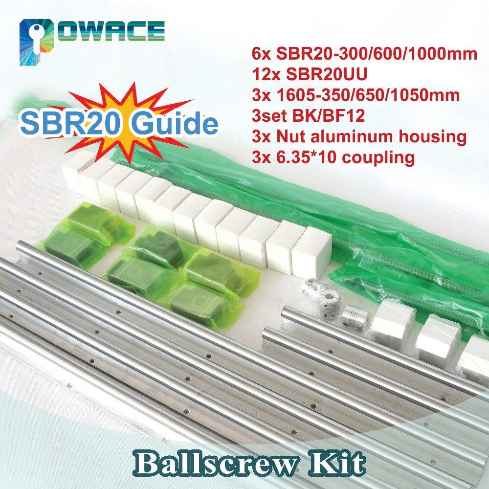 [في الاتحاد الأوروبي] SBR20 خطي السكك الحديدية L300/600/1000 مللي متر + 3 مجموعة Ballscrew SFU RM1605 -350/650/1050 مللي متر مع الجوز و 3 مجموعة BK/BF12 + 6.35x10 اقتران