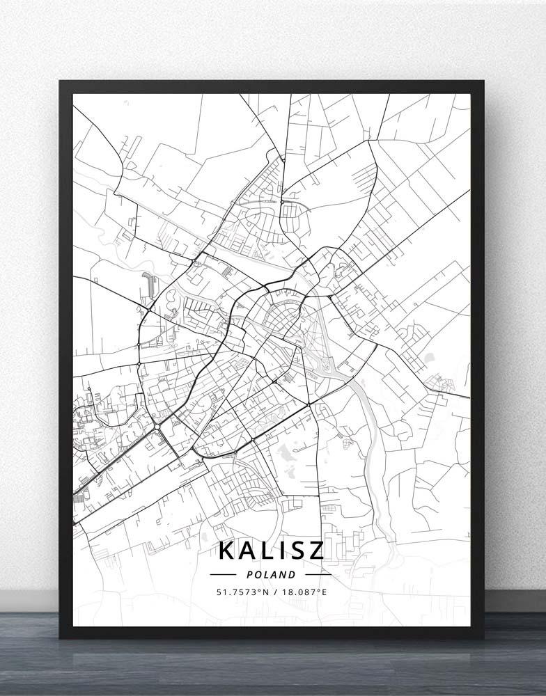 Affiche de carte Kalisz Katowice Kielce   Koszalin cracovie Legnica Lodz Lublin Olsztyn opolte e14 Poznan Radom Ruda Slaska Rybnik pologne, carte