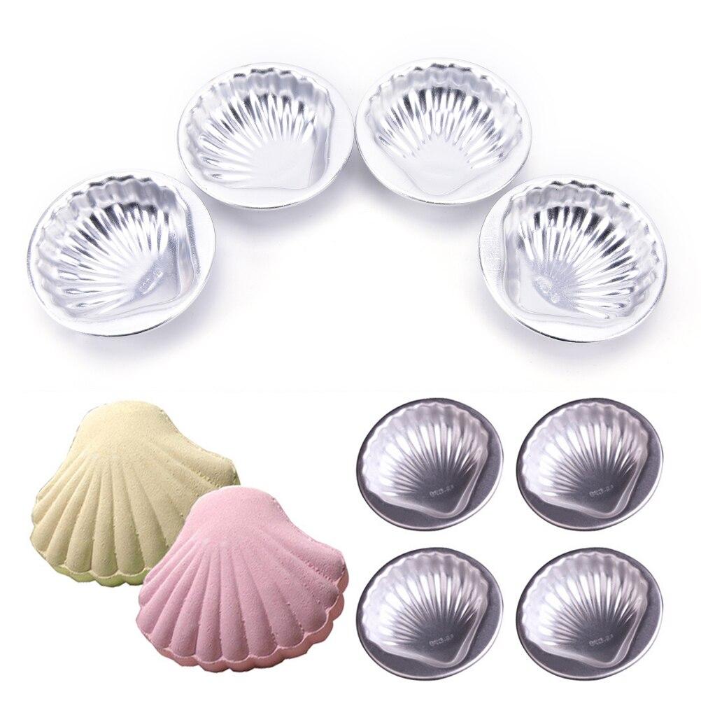 4 Stücke Bad Bombe Backform 3D Aluminiumlegierung Sea Shell Form Bad Bombe Form Kuchen Backen Gebäck Form