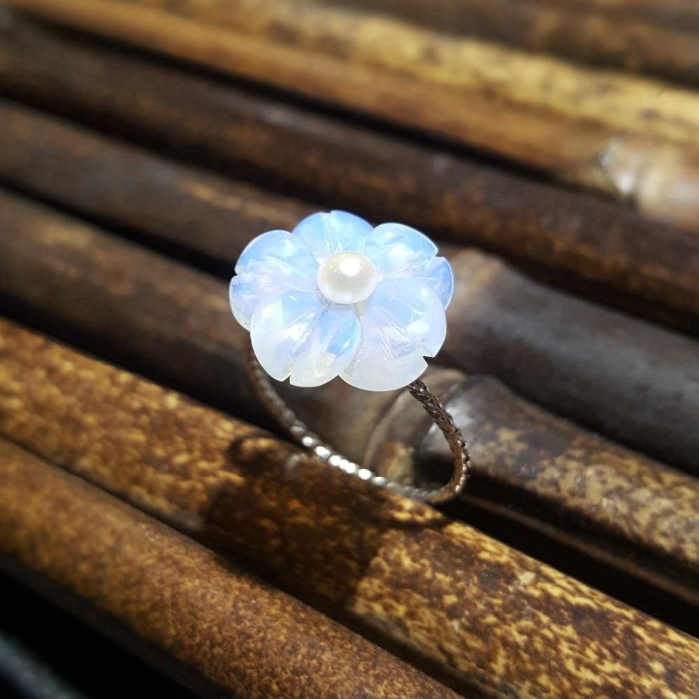 Lii Ji Real 925 Sterling Silver Amethyst Rose,Blue Crystal,Opal Crystal Flower Freshwater Pearl Ring For Women Girl Friend Gift
