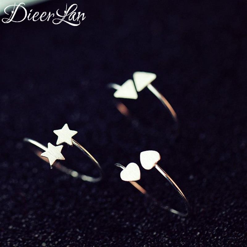 ¡Novedad de 925! Anillos triangulares de plata de ley con forma de estrella y corazón para mujer, anillo ajustable de plata de ley a la moda, joyería