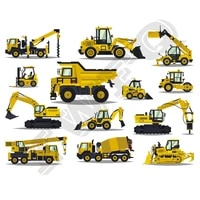 multi excavators heat transfers for family children clothes diy appliques washable ironing sticker construction trucks patches