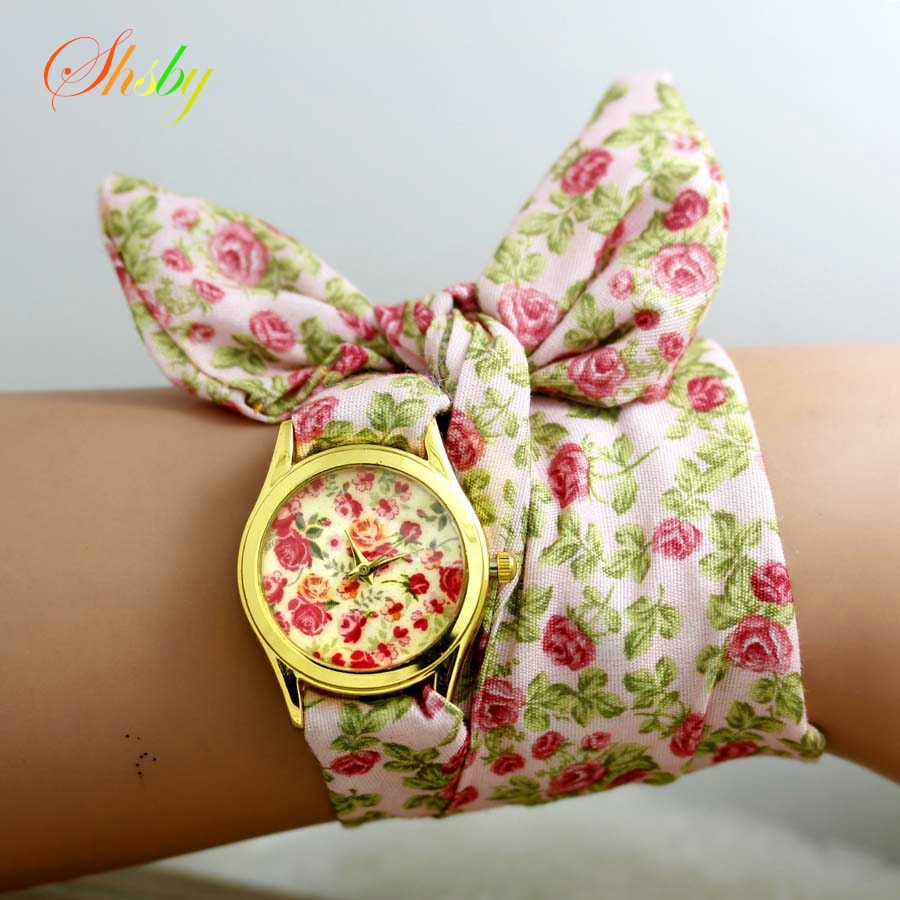 shsby new style sweet chiffon fabric girls watch floral women dress watches fashion Quartz watch Lad