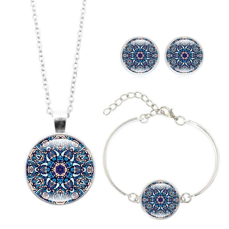 Набор ювелирных изделий в виде цветов мандалы, индейка, подвеска в виде сглаза, ожерелье, браслет, серьги, наборы стеклянных кабошонов, религиозный буддистский ювелирных изделий