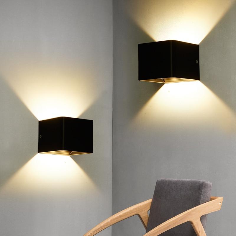 LED indoor wall lamp square modern home lighting decorative bedside bedroom wall lamp bathroom corridor aluminum lamp 85-265v 7w