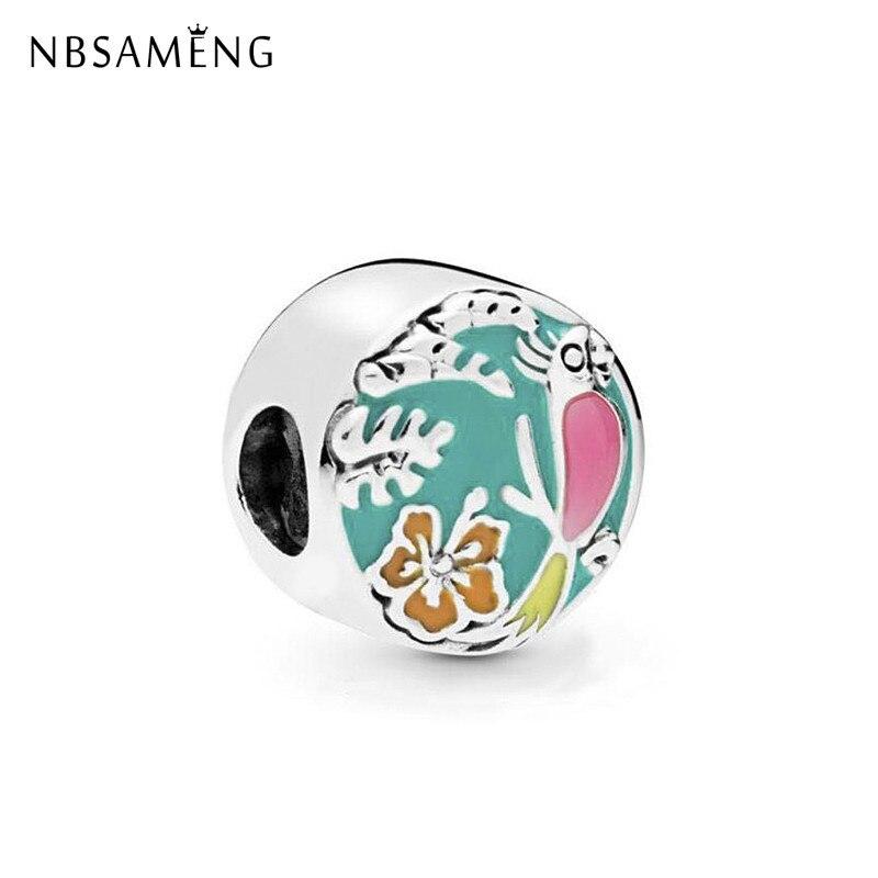 Abalorio chapado de moda, cuentas de aleación coloridas, amuletos de flores de pájaros Mori, apto para Pulseras originales, joyería Diy para mujeres