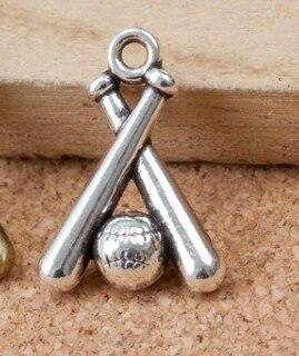 50 Uds colgantes de béisbol deportivo de bronce antiguo de plata 19x13x5mm 1,7g joyería hecha a mano Accesorios de aleación para manualidades de moda