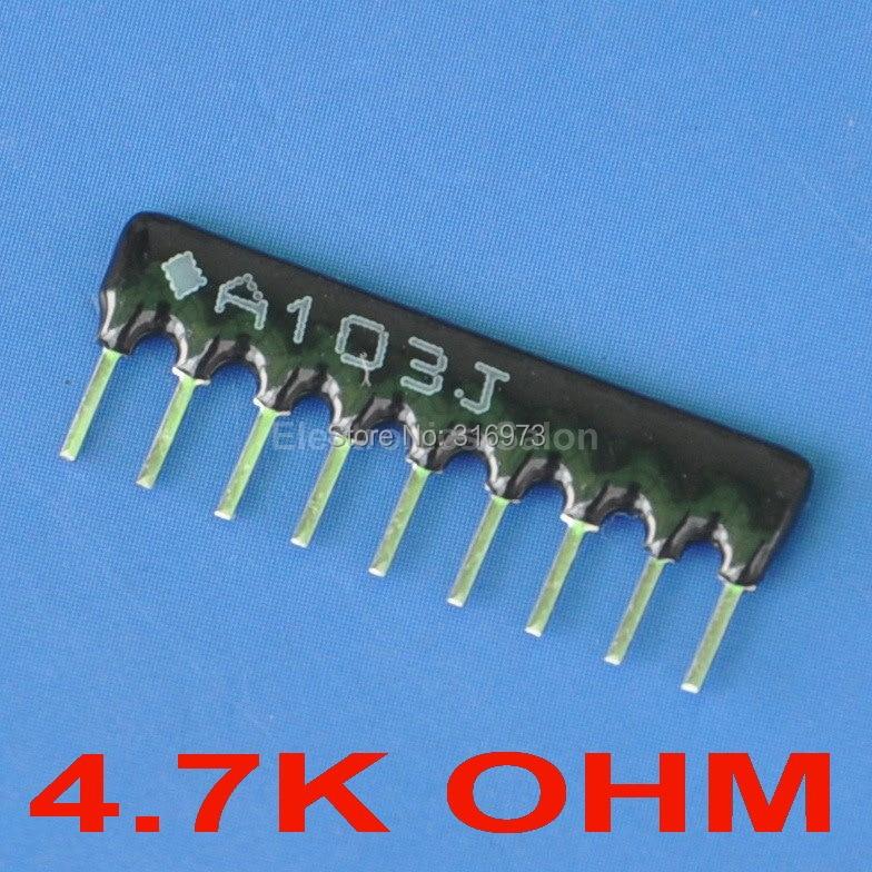 (200 unids/lote) 4,7 K OHM película gruesa red de resistencia SIP-9 con bus tipo de
